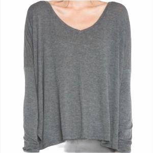Brandy Melville Grey V-neck Long Sleeve Top